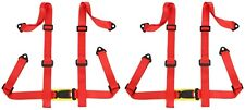 2 X Logo Free 4 Point Buckle Sports Racing Harness Seat Belt Red