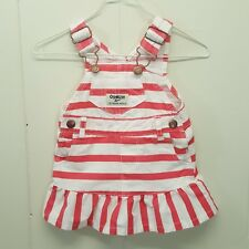 OshKosh Vestbak Jumper Dress Overalls Pink White Stripe 3 Months Ruffle