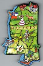 MISSISSIPPI   MS  ARTWOOD STATE MAP MAGNET  JACKSON  NATCHEZ GULFPORT BILOXI