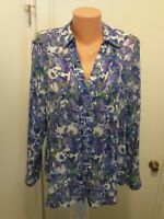 Coldwater Creek Womens  M 10 12 Floral Button Long Sleeve Blouse  Semi sheer