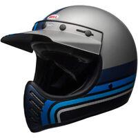 Bell Moto-3 Full Face Motorcycle Helmet Stripes Matte Silver/Black/Blue Small
