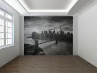 Ciudad de Nueva York Manhattan Negro y Blanco Papel Pintado Foto Mural Pared