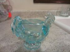 Imperial Glass Blue Iridized Rooster Egg Cup