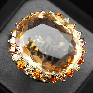 Morganite Peach Orange Oval 21.6Ct. 925 Sterling Silver Rose Gold Ring Size 6.5