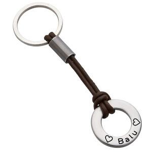 Schlüsselanhänger Lederband Braun mit Gravur