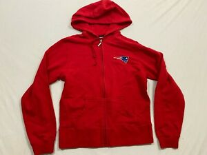 FLAWED New REEBOK New England Patriots Red Hooded Sweatshirt Hoodie WOMENS M