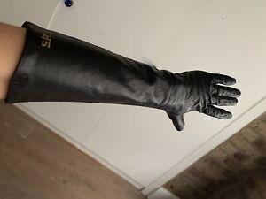 Sonia Rykiel Iconic Black Leather Long Gloves Size 7