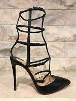 6454b4e55da NIB Christian Louboutin Kadreyana 100 Black Leather Caged Strappy Pump Heel  39.5