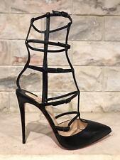 NIB Christian Louboutin Kadreyana 100 Black Leather Caged Strappy Pump Heel 38