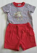 New BABYBOOTS Size 16 Lb / 6 Months Blue Striped Short Sleeve Shirt & Red Shorts