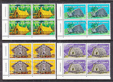 PNG: 1976 NATIVE DWELLINGS   IN  IMPRINT BLOCKS OF 4  CTO AND SCARCE!!!