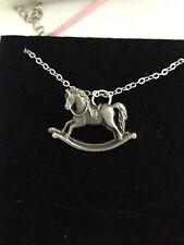 "Rocking Horse R70 Emblem Silver Platinum Plated Necklace 18"""