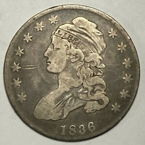 1836 Lettered Edge O-110 R-1 Fine F Capped Bust Silver US Half Dollar 50C