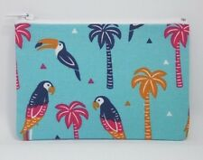 Tropical Toucan & Parrot Fabric Handmade Zippy Coin Money Purse Storage Pouch