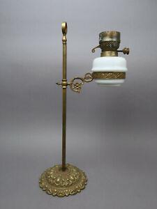 Petroleumlampe Schreibtisch Tischlampe mit Messing Fuß ca. 58 cm H R. DITMAR