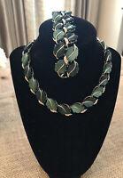 Vintage Necklace/Bracelet Set W/aurora Borealis Rhinestones Ivy Design Lisner