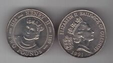 GUERNSEY - RARE 2 POUNDS UNC NICKEL COIN 1991 YEAR KM#54 HENRY II