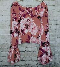 Charlotte Russe Womens Cropped Long Bell Sleeve Blouse Size L Multicolor Floral