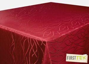 Tischdecke bordeaux 130x160 Eckig in glanzvoller Streifenoptik von First-Tex