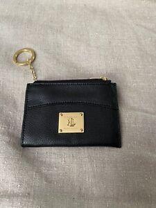 Lauren Ralph Lauren Coin Purse Key Ring Card Holder Black Leather Zip Closure
