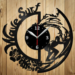 Vinyl Clock Surfing Vinyl Wall Clock Handmade Decor Original Gift 3431