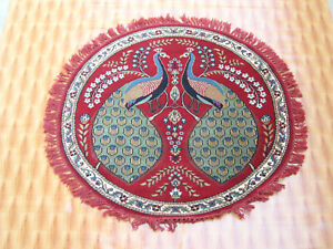 Round Mat Wool Rugs Living Room Bedroom Peacock Design Red Color Carpet 4x4 ft