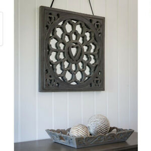 Floral Flower Grey Wooden Wood Art Square Wall Art Panel Decoration Mirror