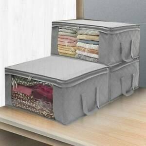 3x Underbed Clothes Storage Bags Zip Organizer Wardrobe Cube Closet Boxes
