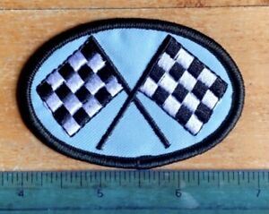 Vintage Pit Stop Checkered Flag Racing Drag Race HOTROD Automotive Sew On Patch