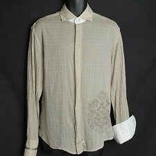 English Laundry Shirt Men's Size Large Long Sleeve Button Front Sheer Flip Cuffs
