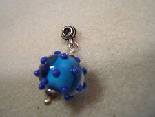 Sterling Silver Turquoise glass Dotted Bead Necklace Bracelet Charm