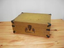 Old Wooden Artist Painter Canvas Box Case Mustard Yellow Estate Find Made in USA