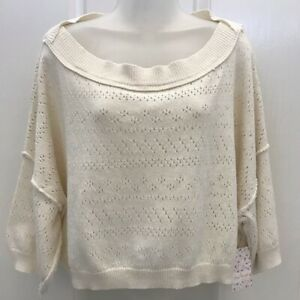 NEW wTag-FREE PEOPLE White Sands Knit Top M