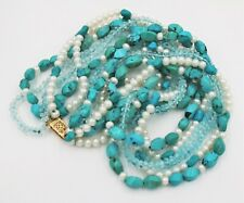 Vintage Torsade Turquoise Pearl Crystal 6 Strand Choker Necklace 14k Gold Clasp