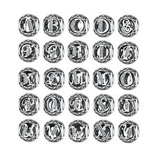 26 letters 925 Silver CZ European Charm Beads Fit Bracelet Chain DIY