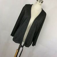CJ Banks 2X Cardigan Sweater Gray Silver Tie Front 3/4 Sleeve Lightweight L3
