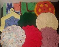 Vintage Crocheted Pot Holder/ Trivet Lot of 9 Multi Color Various Shapes & Sizes