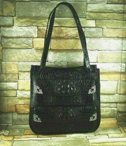 GLEN MILLER for ANN TURK Black Leather Embossed Croc Shoulder Bag Tote Vintage
