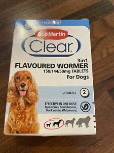 Bob Martin 3 in 1 Flavoured Wormer Tablets for Dogs  150mg/144/50mg 2 Tablets.
