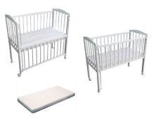 Beistellbett Kinderbett Babybett 90x40 cm mit Matratze und Rädern 3Stuffen weiss