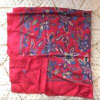 Women's Vintage Jacqueline Farrar Red Floral Square Silk Scarf 27 x 27