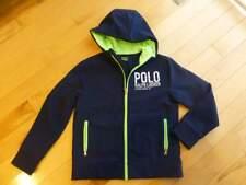 EUC Boys Polo Ralph Lauren Long Wind Breaker Fleece Hooded Jacket M 10 11 12