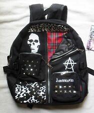 Punk Studded Bag Backpack Black Tartan Plaid School College