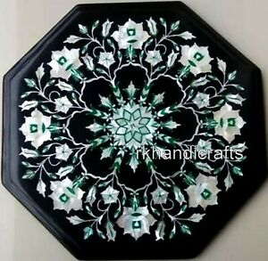 12 Inches Marble Patio Side Table Top Mother of Pearl Inlay Art Coffee Table Top