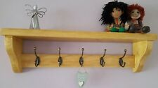 Shelf/Hat & coat rack with 5 double hooks, waxed in antique pine