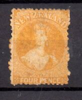 New Zealand 1864 4d yellow WMK Star SG120 mint no gum WS20217
