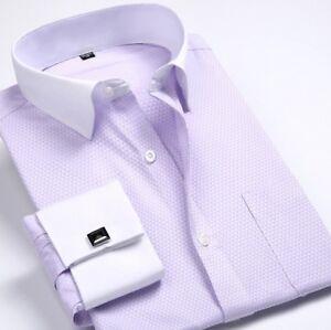 Mens Dress Shirts Dress Slim Fit French Cuff Formal With Cufflinks Shirts Tops