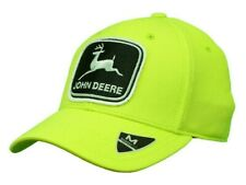NEW John Deere Neon Yellow Stretch Polyester Blend Memory Fit Fitted Cap LP70335