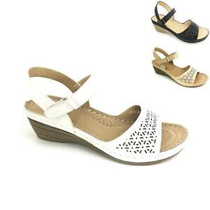 Women Ladies Summer Ankle Strap Beach Mid Wedge Heels Comfort Sandals Shoes Size