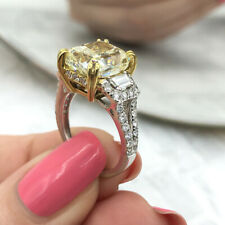 Fancy Yellow Light 18k White Gold Two Tone with 7.19ct. Engagement Ring